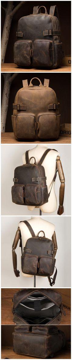 Vintage Travel Backpack Crazy Horse Leather Laptop Backpack Men School Backpack Model Number: Dimensions: x x / 31 cm(L) x 13 cm(W) x 37 cm(H) Weight: 4 lb / kg Shoulder Strap: Adjustable Color: Light Brown / Dark Brown Features: Leather Laptop Backpack, Men's Backpack, Mens Style Guide, Crazy Horse, School Backpacks, Natural Leather, Christmas Shopping, Vintage Travel, Laptop Sleeves