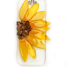 Sunflower Fused Glass Hanging that would also work as a pendant or a brooch. Oh, I can't wait!