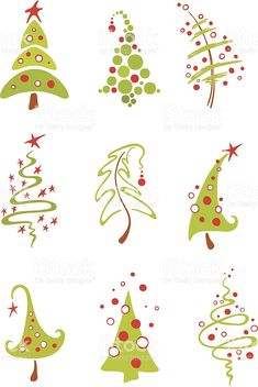 A collection of vector modern christmas trees Modern christmas trees Royalty Free Stock Vector Art Illustration Christmas Doodles, Christmas Drawing, Noel Christmas, Modern Christmas, Winter Christmas, Christmas Ornaments, Purple Christmas, Coastal Christmas, Painted Christmas Tree