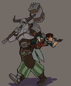 """bugbiite: """" Iron Bull pulls my Levellan away from stabbing someone she probably shouldn't. """""""