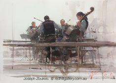 "Joseph Zbukvic - Red Hill Gallery, Brisbane. Watercolour painting, ""Quartet, Paris"" redhillgallery.com.au"