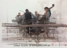 "Joseph Zbukvic - Red Hill Gallery, Brisbane. Watercolour painting, ""Quartet, Paris"" redhillgallery.com.au"