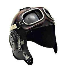 Casco de aviador antiguo decorativo de metal. Con gafas y todo! #regalos #originales http://www.vasderetro.com/figuras-retro/varios/Casco-con-gafas-de-aviador-antiguo-decorativo