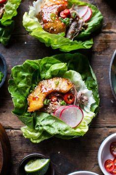 Korean Pineapple Pork Lettuce Wraps.