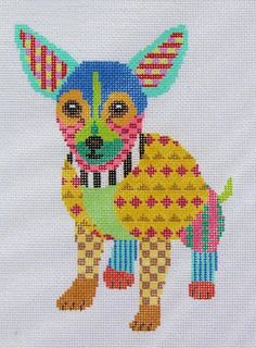 patchwork chihuahua needlepoint from Patt & Lee