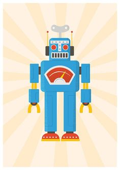 Robot art print,  nursery art, retro decor, kids room art, playroom poster, vintage robot illustration Retrobot  A3