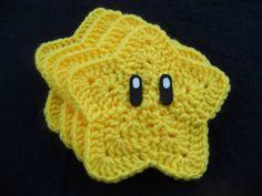 Mario Super Star Coasters! - CROCHET