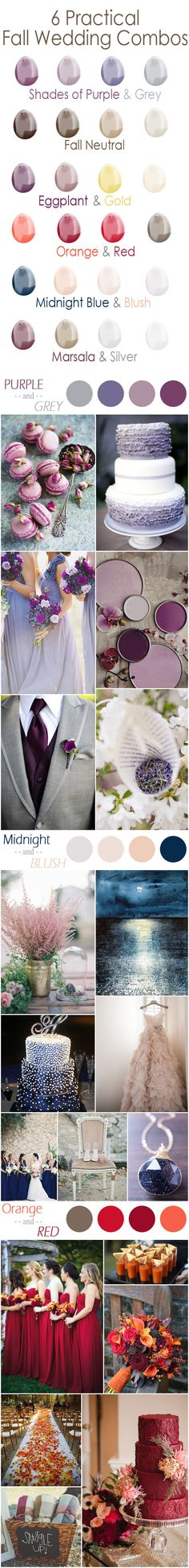 6 Practical Fall Wedding Colors-shades of purple, midnight blue and blush pink, orange and red wedding color ideas