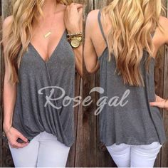 Stylish Loose-Fitting Spaghetti Strap Solid Color Tank Top For Women