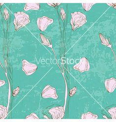 Seamless floral background vector by Elmiko on VectorStock®