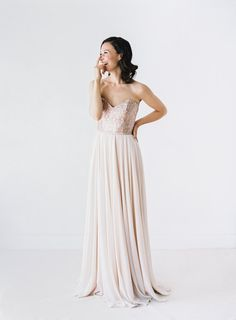 Rochelle Rose Gold Sequinned Wedding Dress