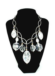 Semi Precious Stone Cracked Crystal bib necklace by 1ofaKindJewlrybyIris, $265.00