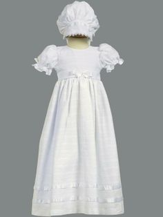 Gorgeous cotton christening gown with matching lace trimmed bonnet Hope Christian Store - Christening Dress Embroidered Cotton Daphne, $49.99 (http://www.hopechristianstore.com/christening-dress-embroidered-cotton-daphne/)