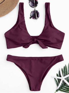 Knotted Scoop Bikini Top and Bottoms - MERLOT M