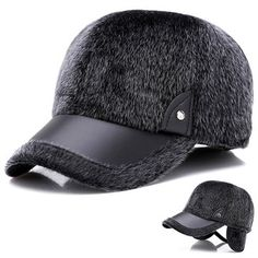 e9bb4374b9aa3 Men Winter Warm Velvet Leather Hat Keep Ear Warm Vogue Vintage Outdoor  Sports Snow Baseball Cap is hot sale on Newchic.