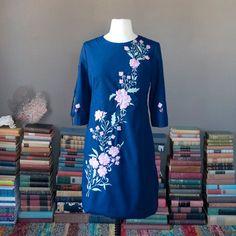 be6961c63ee4 Vintage stunning FLORAL EMBROIDERY mini by FolieAdeuxVintage Resort Dresses