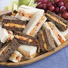 5 Dainty Finger Sandwiches ----- Hosting a spring baby shower, afternoon tea, or ladies' luncheon? Serve some of these five delicious finger sandwiches for a festive and filling celebration. Mini Sandwiches, Pimento Cheese Sandwiches, Pimiento Cheese, Cheese Sandwich Recipes, Homemade Pimento Cheese, Cucumber Sandwiches, Easy Finger Sandwiches, Baby Shower Sandwiches, Tailgating Recipes