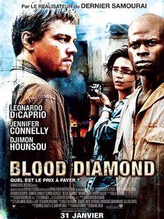 Blood Diamond est un film de Edward Zwick avec Leonardo DiCaprio, Djimon Hounsou. Synopsis : Alors qu'il purge une peine de prison pour ses trafics, Archer rencontre Solomon Vandy, un pêcheur d'origine Mende. Arraché à sa famille et forcé de t
