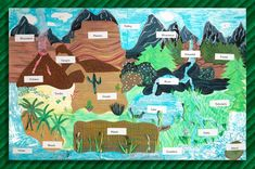 Create a unique, stunning display of the Earth's landforms. Showcase learning with textured materials such as sandpaper, aluminum foil, and corrugated paper.