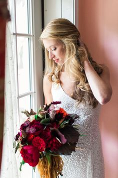 Marsala and Red Pennsylvania Wedding from Lauren Fair Photography - stunning bridal style
