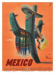 Mexico: Mariachi Cactus, c.1945 Stampa artistica #grafica #storia #mexico #selected2013