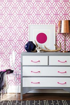 Home-Decor-Styling-Wallpaper-DIY-Dresser-Hot Pink-Hot-Pink-Wallpaper-and-DIY-Dresser
