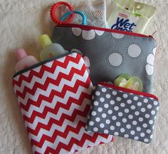Set of 3 Zipper Bags Pouches Grey and Red Flowers, Red Chevron, Grey Dot, Diaper Bag Storage, Pacifier Travel Bags