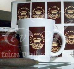 Calco vitrificable del logo de Café Imperial, a dos colores con degradé.