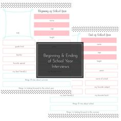 First Day of School, Beginning and Ending of School Year Interview. Birthday Interview Printable