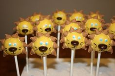 """Lion Cake Pops These were done for my son's last soccer game. His team was the """"Lions."""" :-) They are vanilla cake pops. Lion Birthday, Birthday Fun, Birthday Ideas, Cute Cakes, Yummy Cakes, Fondant Owl, Cake Pop Favors, Jungle Theme Parties, Jungle Party"""