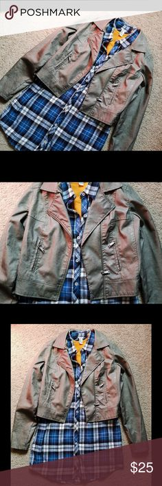 Jou Jou faux leather bomber jacket This jacket has an edgy feel and looks great on!! Has a leather appearance and in excellent condition. Worn a couple of times! Jou Jou Jackets & Coats