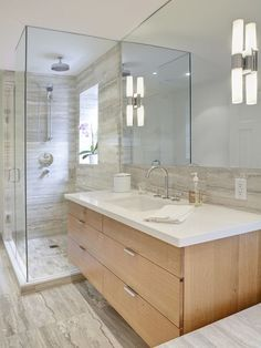 Artistic Tile Ocean Beige 12x24 Vein-Cut Travertine Cosentino Silestone White Zeus Extreme Vanity Top Contemporary Bathroom and Modern Shower