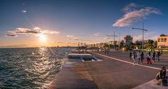 Νέα Παραλία Θεσσαλονίκης Macedonia Greece, Thessaloniki, Sufi, Sunset, Landscape, City, Beach, Places, Water