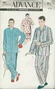 An unused original ca. 1950's Advance Pattern 8217.   Men's Pajamas ... Three Versions: (V1) Traditional top has Convertible collar ... pocket at left side. Set-in sleeves finished with applied sleeve band. Long trousers have drawstring or Gripper snap closing. (V2) Cardigan top. Banding outlines the front closing. Long trousers. (V3) Slip on pajama top - V-neckline band finish.