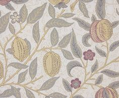 Fruit Upholstery Fabric Another classic William Morris design transposed into a tapestry style fabric, sand and light sage on an stone background
