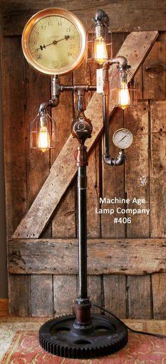 Steampunk Lamp Industrial Machine Age Steam Gauge Floor Light Train Gear in Table Lamps | eBay