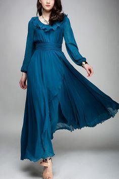 Fabulous Long Sleeves Chiffon Dress - OASAP.com