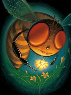 Illustration by Chris Buzelli Buzz Bee, Bees And Wasps, Insect Art, Bee Art, Colouring Techniques, Bee Happy, Bees Knees, Bee Keeping, Doodle Art
