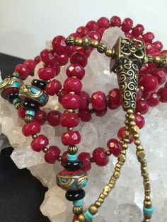 One Of A Kind Brazilian Faceted Red Ruby Prayer Mala 108 Beads with Turquoise, Coral, & Brass Inlay by SlightlyTwisted1 on Etsy