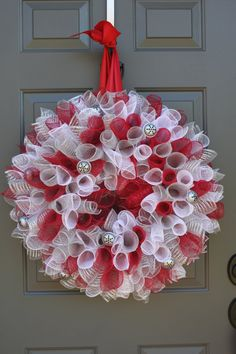 Jingle Bell Curly Geo Mesh Christmas Wreath by Sweet Monkey Princess on Etsy.