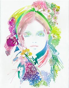 Fashion Illustration, Watercolour Fashion Illustration, Cate Parr, Watercolor Fashion Print, Fashion and nature, by silverridgestudio on Etsy https://www.etsy.com/listing/72710864/fashion-illustration-watercolour-fashion