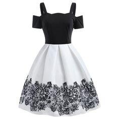 Contrast Cold Shoulder A Line Vintage Dress - White - 3Q71634222 Size S #vintagedresses Contrast Cold Shoulder A Line Vintage Dress - White - 3Q71634222 - Original Design-Women's Clothing #OriginalDesignWomensClothing #Original #DesignWomen's #Clothing