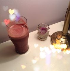 Chocolate cherry smoothie!! 1 1/3 cups almond milk, 2/3 cup water, 1 cup frozen cherries, 1 small banana, 2 tbs coco powder