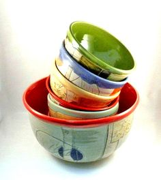 Set of 7 Decorative Ceramic Salad Bowls Mother's Day Gift,  Wedding Gift Seven Bowl Set - Carved Art Vessels - Colorado Pottery - pinned by pin4etsy.com