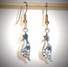 Ohrringe Katze Damen Ohrschmuck Modeschmuck Hänger ohne Stein Durchzieher