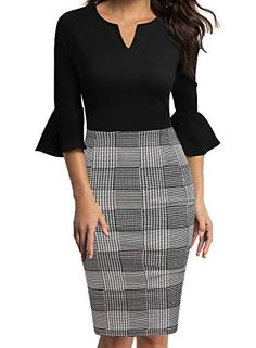 WOOSUNZE Womens Flounce Bell Sleeve Office Work Casual Pencil Dress WOOSUNZE Casual Dresses, Fashion Dresses, Work Dresses For Women, Dress Indian Style, Super Cute Dresses, Business Casual Outfits, Classy Dress, Pencil Dress, Work Casual