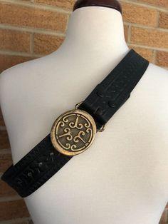 Solid Brass Buckle BTS Made in USA Black Leather Belt Cosplay LARP Western wear