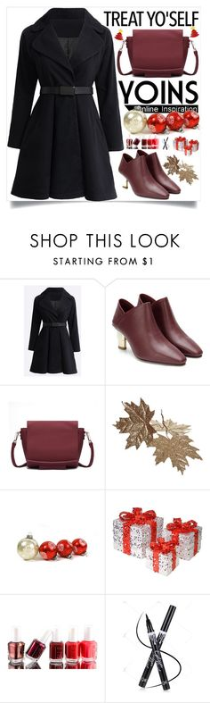 """""""Yoins:Black Coat -Christmas"""" by loveyoins on Polyvore featuring National Tree Company and Essie"""