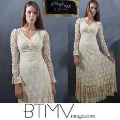 70s GUNNE sax LACE sheer gauze maxi cream ROSE dress gown crochet xs s