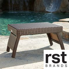 RST Outdoor Espresso Rattan Lounger Side Table   Overstock